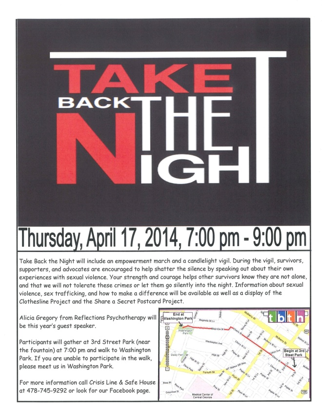I have the honor of being this year's guest speaker for Take Back The Night!